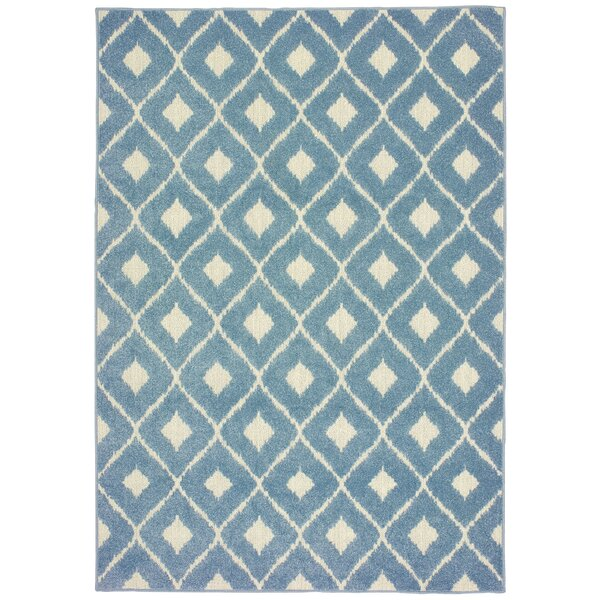 Fluellen Diamond Lattice Blue Indoor/Outdoor Area Rug by Bungalow Rose