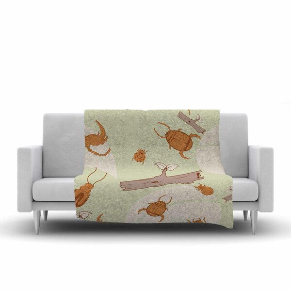 Beetles Fleece Throw Blanket by East Urban Home