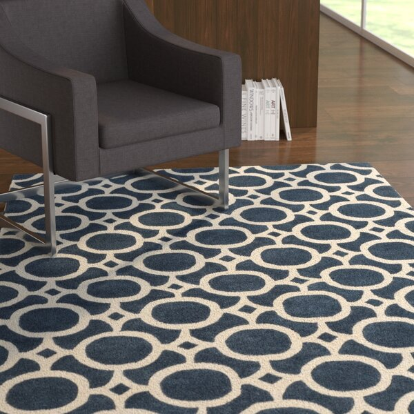 Murrow Hand-Tufted Royal Blue/Beige Area Rug by Ebern Designs