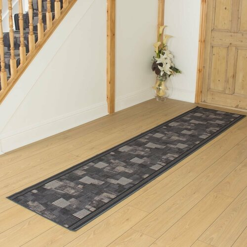 Bainsbury Looped/Hooked Graphite Hallway Runner Rug ClassicL