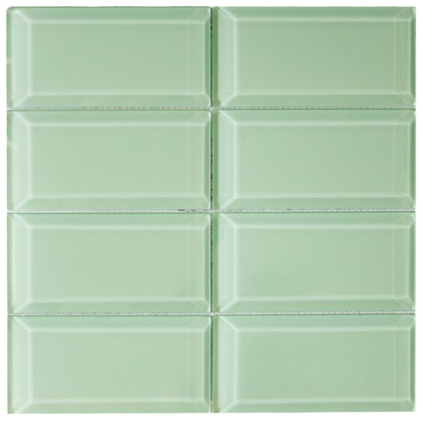 Xenon 3 x 6 Beveled Glass Mosaic Tile in Surf by CNK Tile