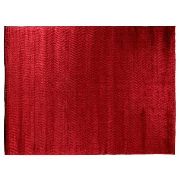 Herringbone Hand-Woven Silk Red Area Rug