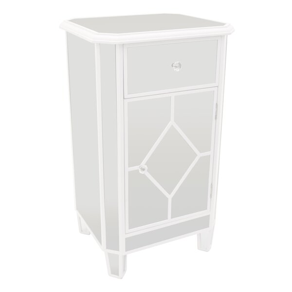 Aoki 1 Drawer Mirrored Accent Cabinet by Rosdorf Park