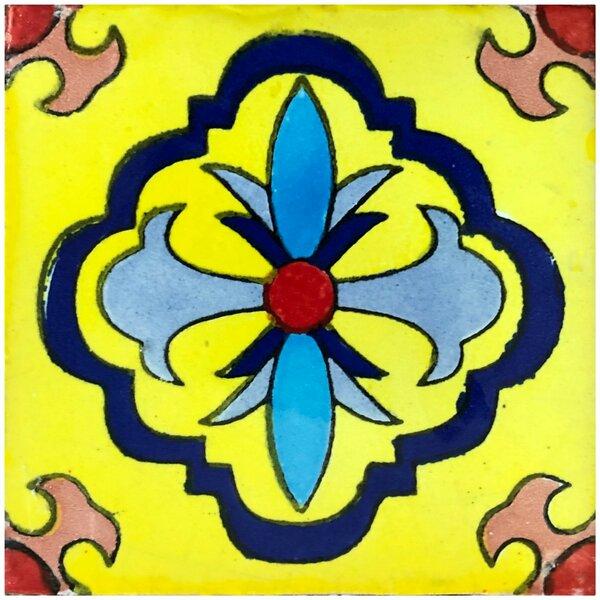 Guadalajara 6 x 6 Ceramic Talavera Decorative Accent Tile (Set of 45) by Rustico Tile & Stone
