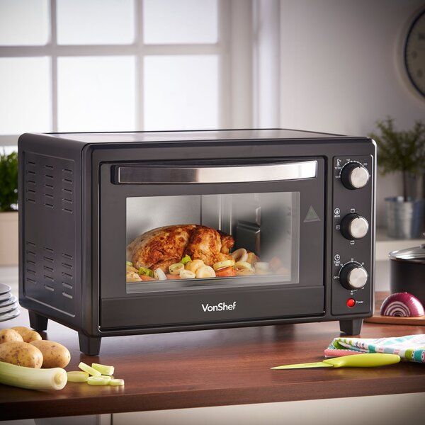 0.87 Cu. Ft. Mini Countertop Toaster Mini Oven with Baking Tray and Wire Rack by VonShef