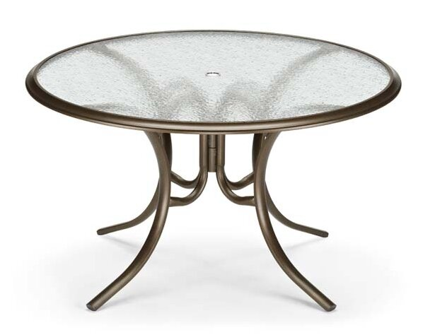 Glass Tables Round Ogee Rim Aluminum Dining Table by Telescope Casual