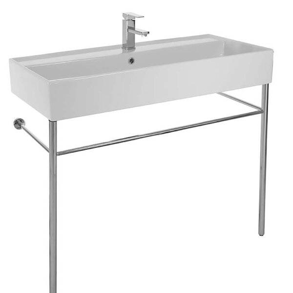 Teorema Ceramic 39 Console Bathroom Sink with Overflow by Scarabeo by Nameeks