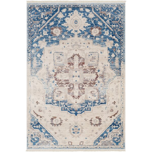 Mendelsohn Vintage Persian Traditional Blue/Cream Area Rug by Three Posts