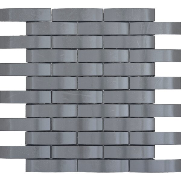 Gleam 11 x 12 Metal over Ceramic Wave Mosaic Tile in Graphite by Emser Tile