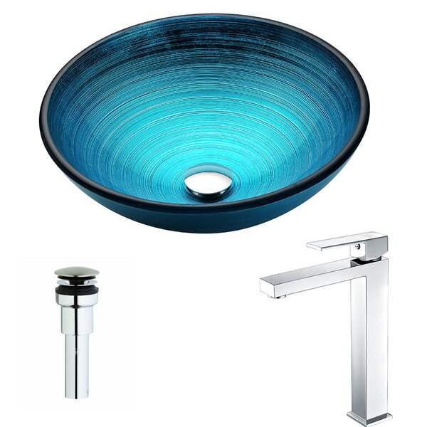 Enti Glass Circular Vessel Bathroom Sink with Faucet by ANZZI