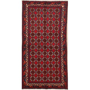 Shopping for One-of-a-Kind Mccalla Vintage Geometric Balouch Persian Hand-Knotted Runner 3'1 x 6'1 Wool Red/Black Area Rug By Isabelline