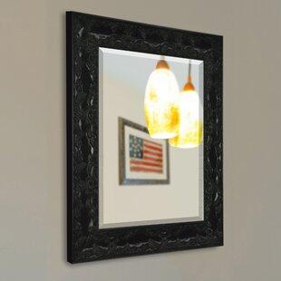Fleur De Lis Living Handcrafted Glossy Black Wall Mirror