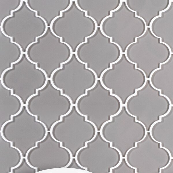 Water Jet Series 3 x 3 Glass Mosaic Tile in Dark Gray by WS Tiles