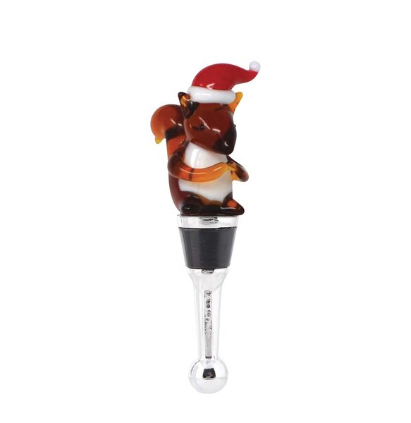 Gipson Squirrel Santa Hat Bottle Stopper by The Holiday Aisle