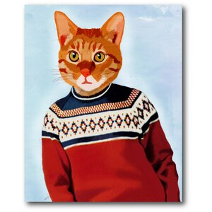 'Cat in Ski Sweater' Painting Print on Wrapped Canvas by Courtside Market