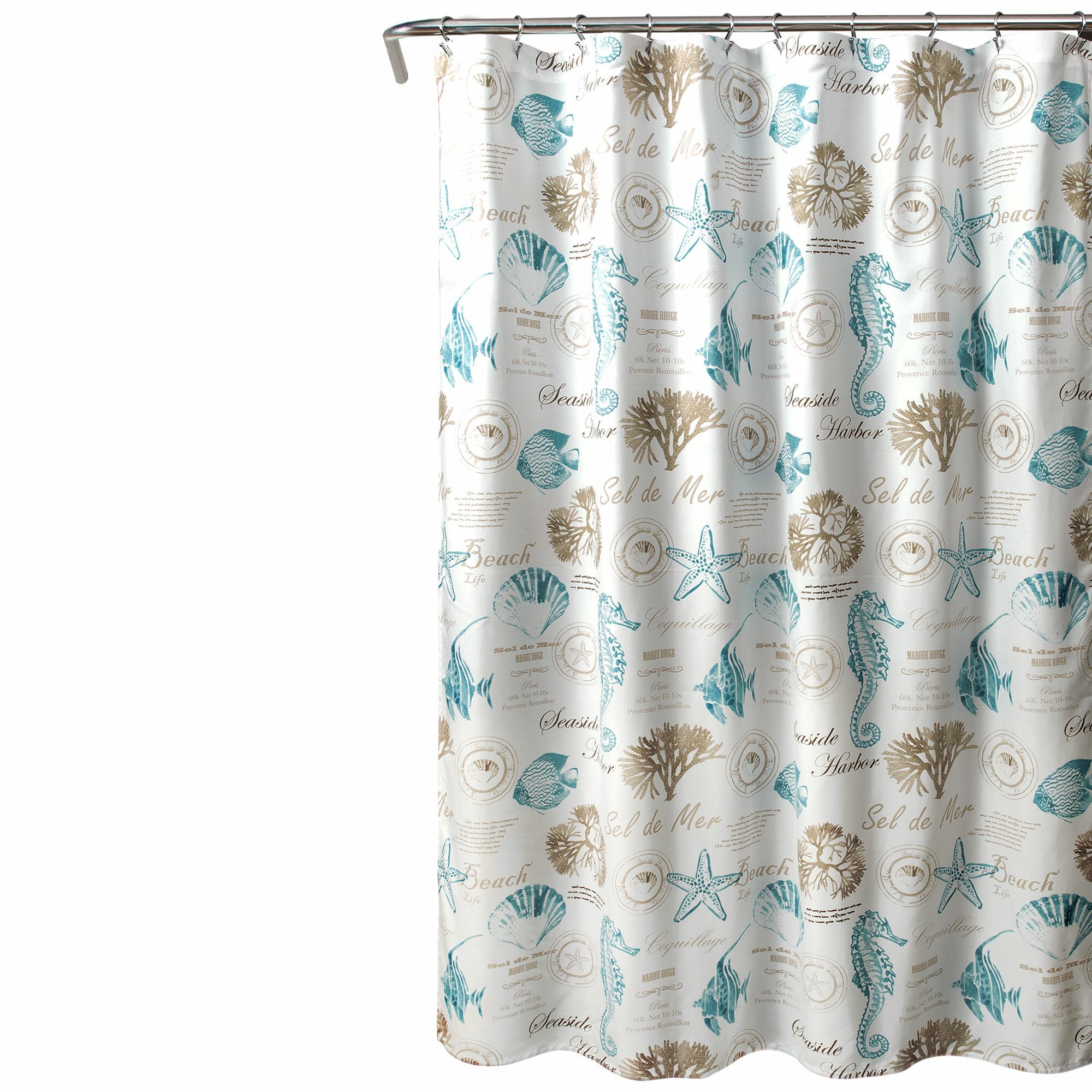 SHELL BLUE SHOWER CURTAIN 12 MATCHING RINGS BATHROOM SET NEW