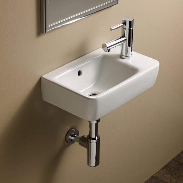 Comprimo Ceramic 16 Wall Mount Bathroom Sink with Overflow by Bissonnet