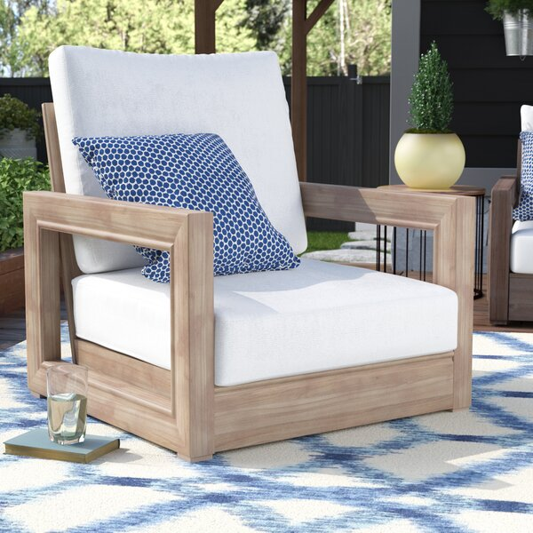 Constance Teak Outdoor Patio Furniture Club Chair with Cushions by Brayden Studio
