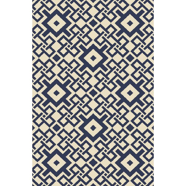 Aura Beige/Cobalt Indoor/Outdoor Area Rug by KD Spain