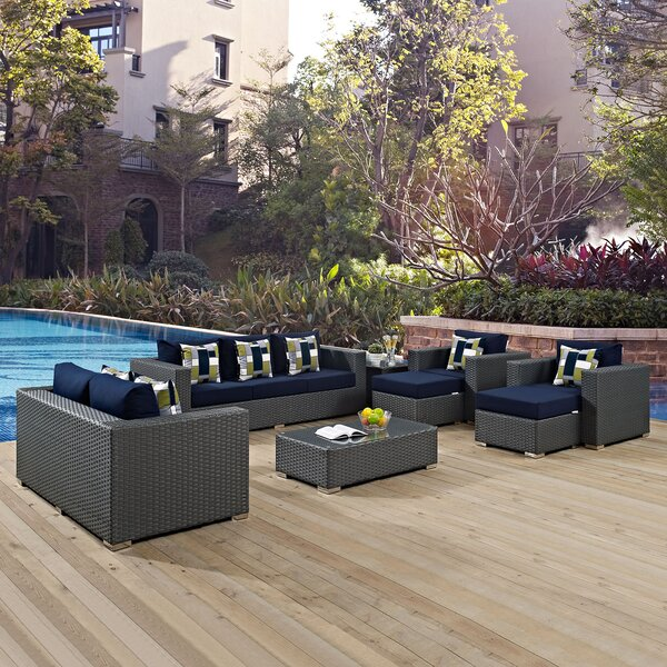 Tripp 9 Piece Rattan Sunbrella Sofa Seating Group with Cushions by Brayden Studio