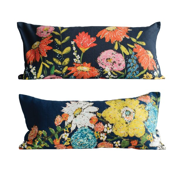 Jarus 2 Piece Floral Cotton Lumbar Pillow Set by August Grove