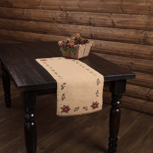 Altha Jute Burlap Poinsettia Table Runner by The Holiday Aisle