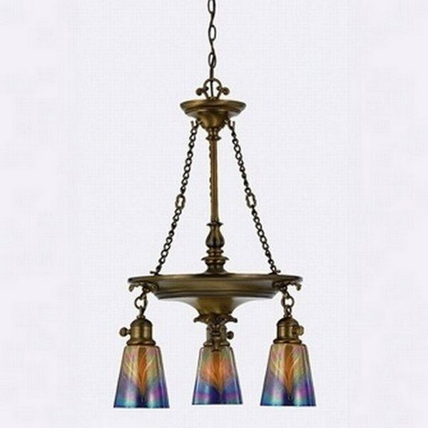 Angelique 3-Light Shaded Wagon Wheel Chandelier by Bay Isle Home Bay Isle Home