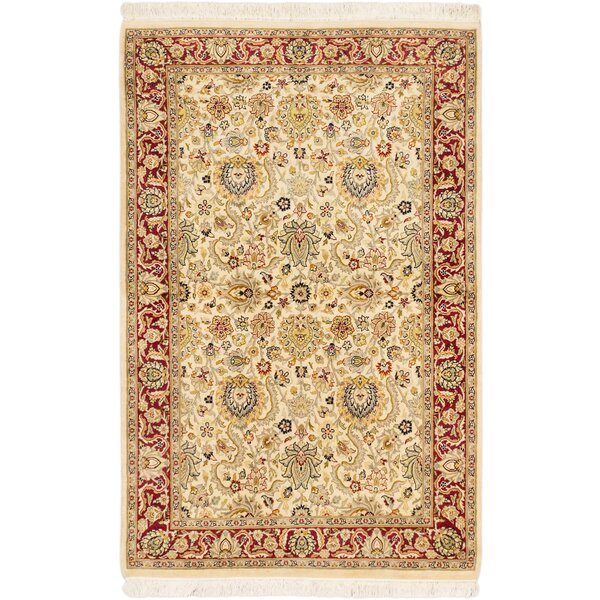 One-of-a-Kind Arabelle Handmade Neutral/ Red Area Rug by Isabelline