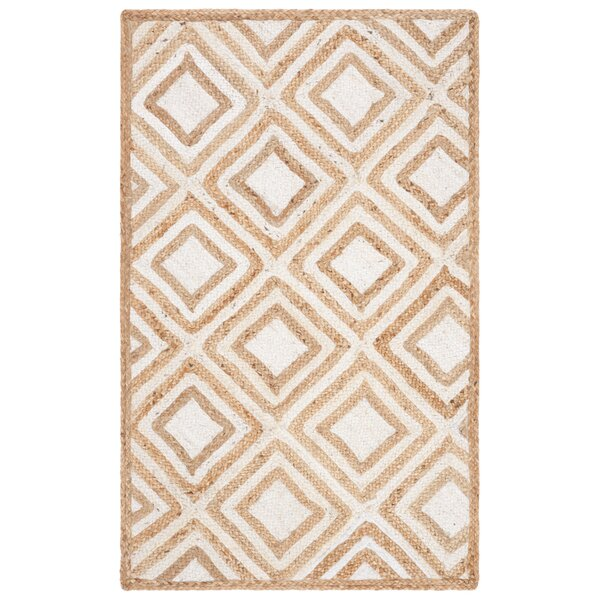 Abhay Contemporary Hand Woven Beige/White Area Rug by Bungalow Rose