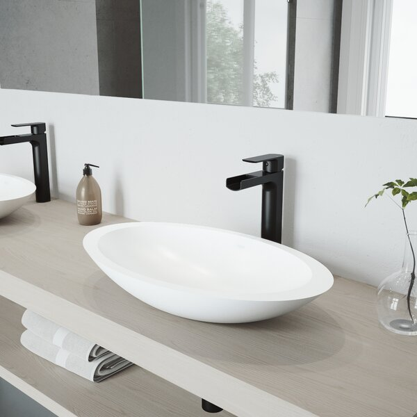 Matte Stone White Oval Vessel Bathroom Sink with Faucet