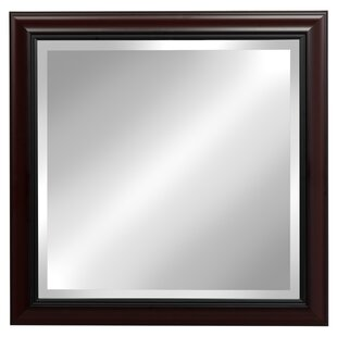 DesignOvation Dalat Cherry Square Framed Beveled Wall Mirror