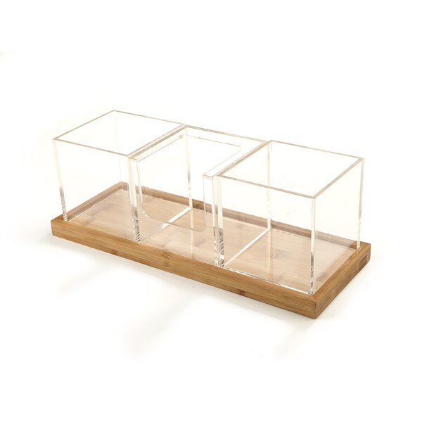 Acrylic Condiment Organizer with Bamboo Base by Mind Reader