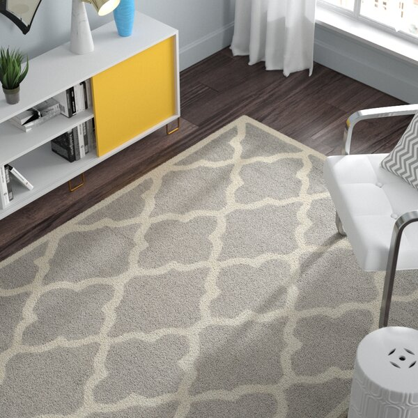 Charlenne Hand-Tufted Dark Grey/Ivory Area Rug by Zipcode Design