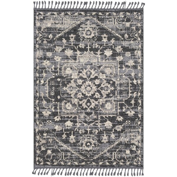 Tamika Distressed Vintage Charcoal/Beige Area Rug by Bungalow Rose