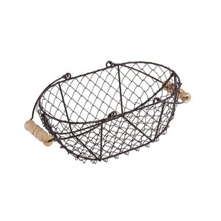 Oval Wire Basket With Wooden Handles