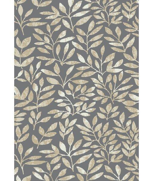 Leech Foliage Gray/Cream Area Rug by Red Barrel Studio