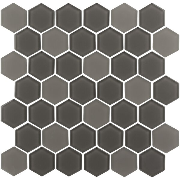 Pure Hexagon 2 x 2 Glass Mosaic Tile in Cappuccino by Madrid Ceramics