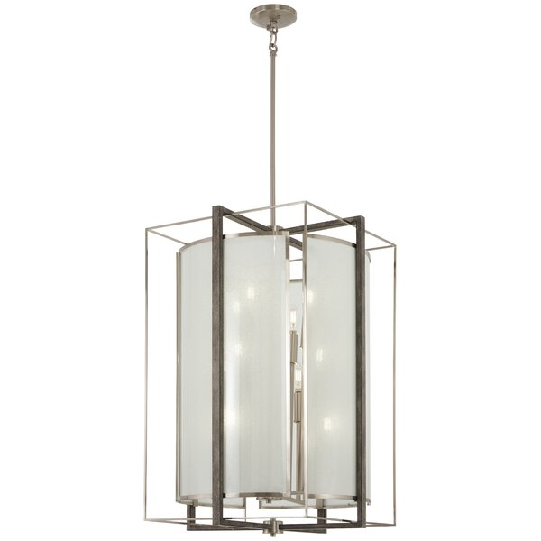 Zaleski 12 - Light Shaded Geometric Chandelier With Wood Accents By George Oliver