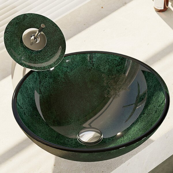 Woodland Glass Circular Vessel Bathroom Sink with Faucet by René By Elkay