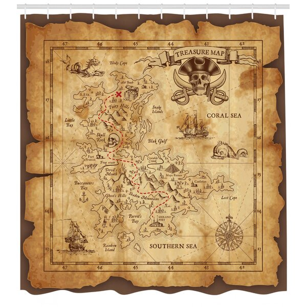 Treasure Map Shower Curtain Home