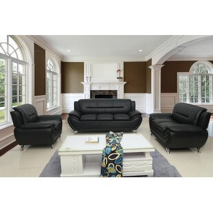 Gridley 3 Piece Faux Leather Living Room Set by Wrought Studio™