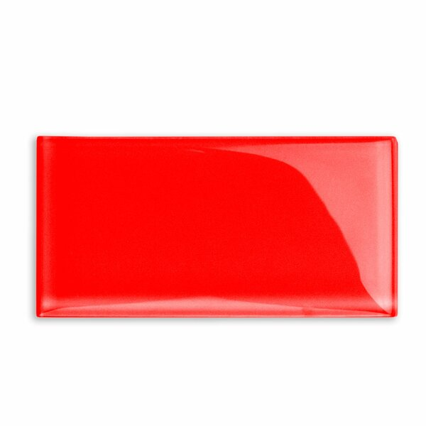 Contempo 3 x 6 Glass Subway Tile in Lipstick Red by Splashback Tile