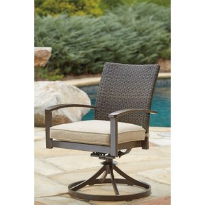 Rosario Swivel Patio Dining Chair With Cushion (Set Of 2)