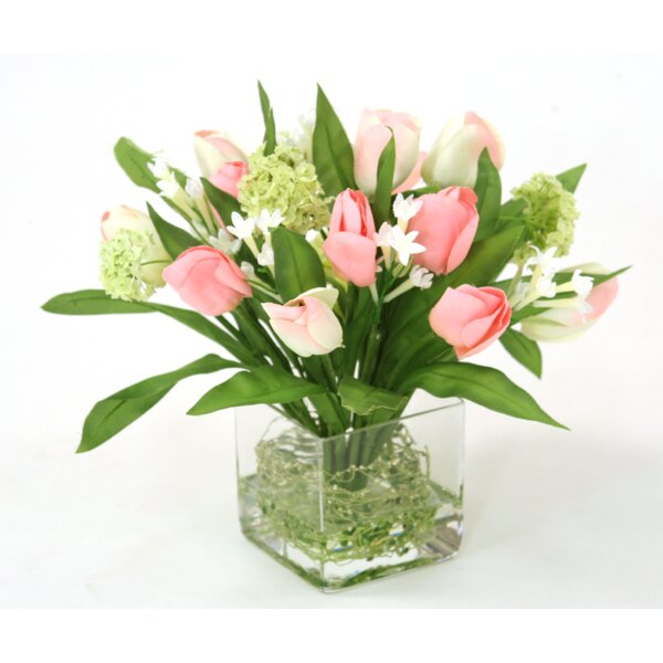 Waterlook Pink Tulip Bundle with Snowballs in Square Glass Vase by Distinctive Designs