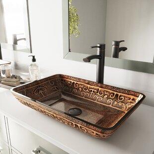 Comparison Glass Rectangular Vessel Bathroom Sink with Faucet ByVIGO