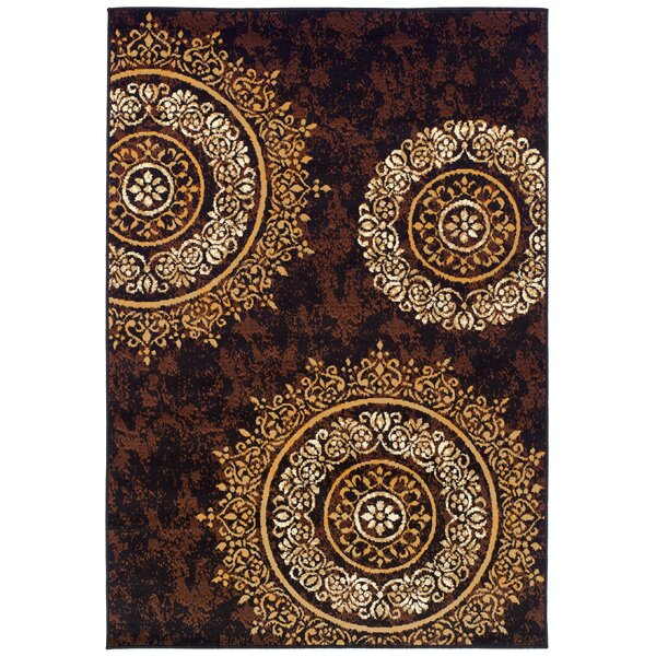 Markenfield Contemporary Modern Circles Brown/Beige Indoor/Outdoor Area Rug by Bloomsbury Market