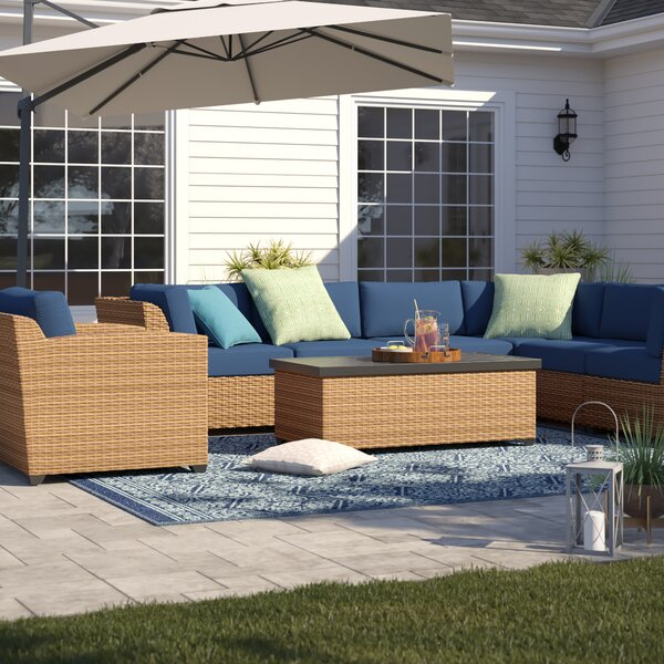 Waterbury 8 Piece Rattan Sectional Seating Group with Cushions