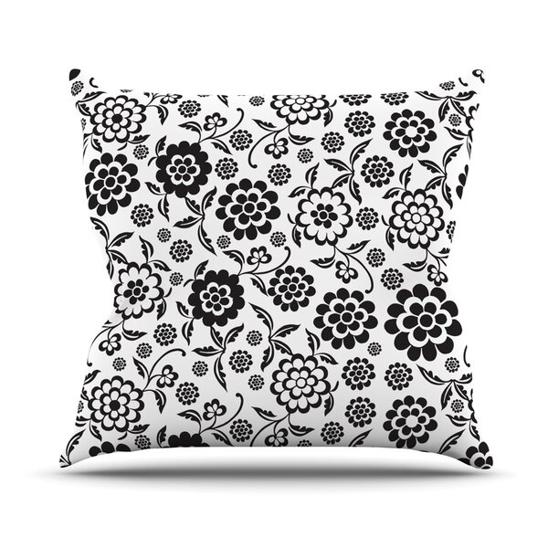 Cherry Floral by Nicole Ketchum Outdoor Throw Pillow by East Urban Home