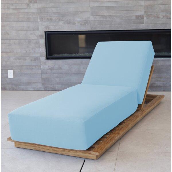 Zaira Reclining Teak Chaise Lounge with Cushion (Set of 2)