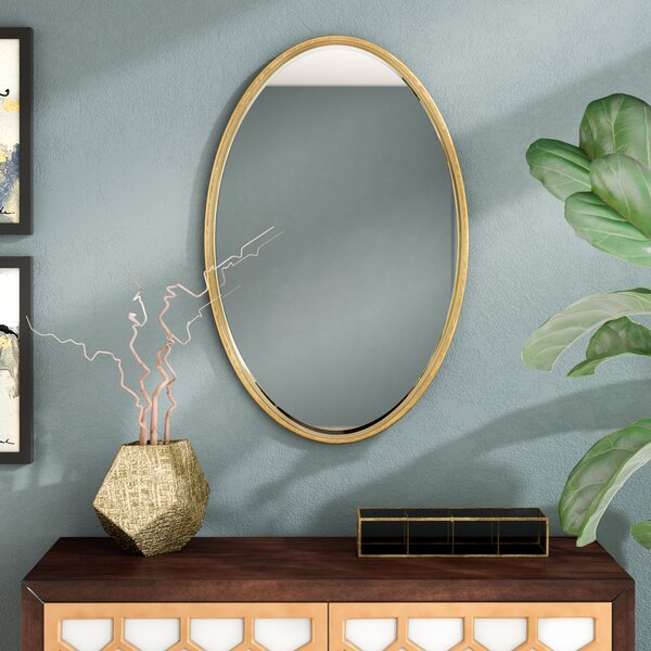 Dudley Gold Oval Accent Mirror by Langley Street